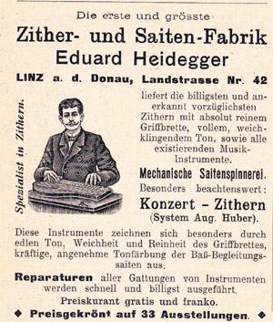 Cornelia Mayer Zitherspielerin in Wien - Heidegger Zither - Werbung in einer Zeitung